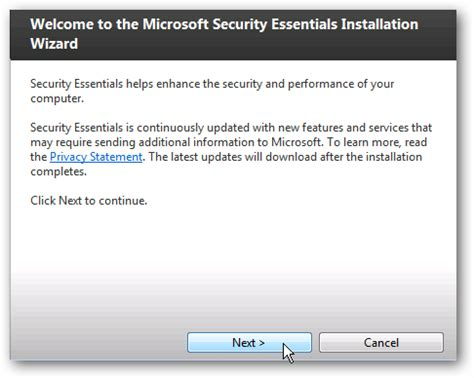 install microsoft security essentials 2 0 beta on windows