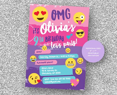 printable emoji birthday invitations emoji invitation emoji party emoji birthday party girls