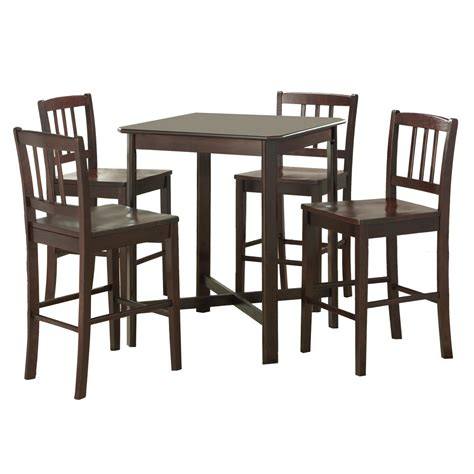 bar top table and chairs walker edison 5 piece solid wood pub table set dark wood
