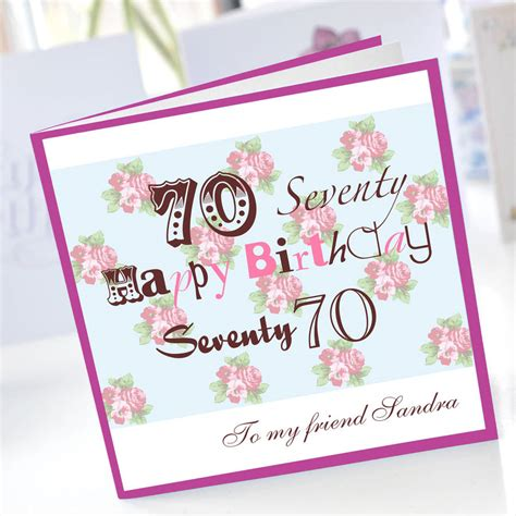 Printable 70th Birthday Cards Personalised 70th Birthday Card By Amanda Hancocks