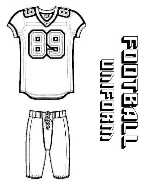 nfl jersey coloring pages blank football template clipart best