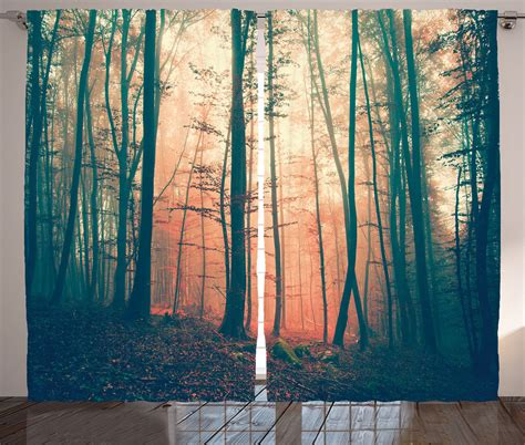 Nature Print Curtains vintage color in fall forest woodland twlight nature print
