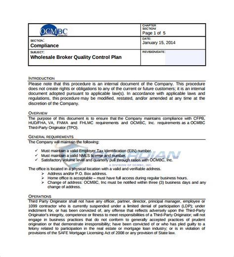 project management quality assurance plan sample quality control