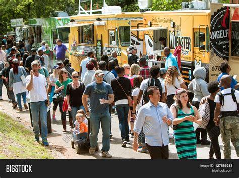 Atlanta Ga April 2016 A Large Crowd Of People Buy Meals From Food | atlanta ga april 2016 crowd image photo bigstock