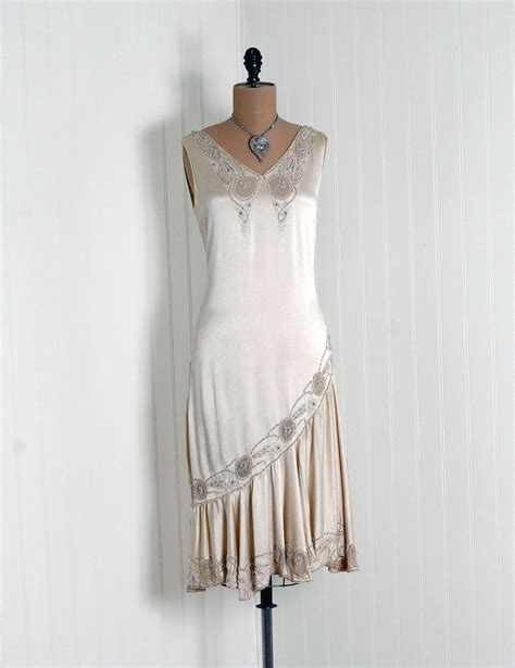 Dress Of The Day Som Silk Dress by 1920 S Antique Vintage Ethereal Ivory White Beaded Silk