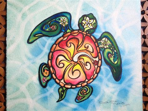 watercolor tattoos hawaii baby turtle framed original painting baby sea turtle