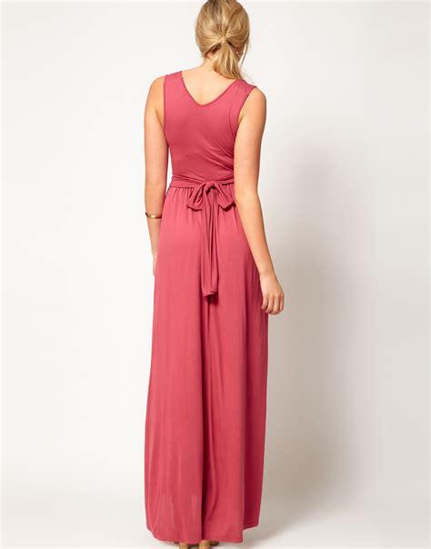 grecian drape maxi dress asos maxi dress in grecian drape in beige mauvewood lyst