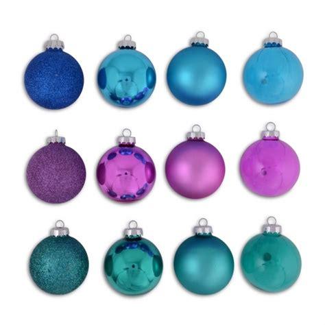 set of twelve multi finish bright coloured christmas tree
