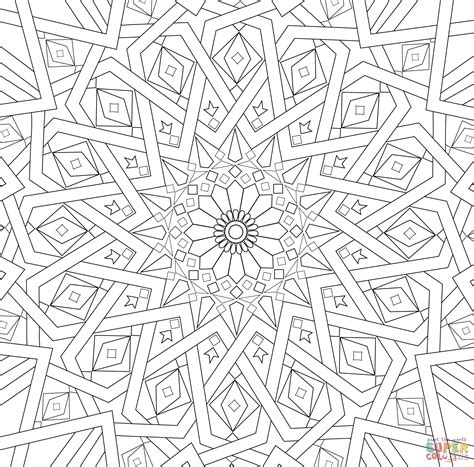 islamic pattern template traditional islamic mosaic coloring page free printable
