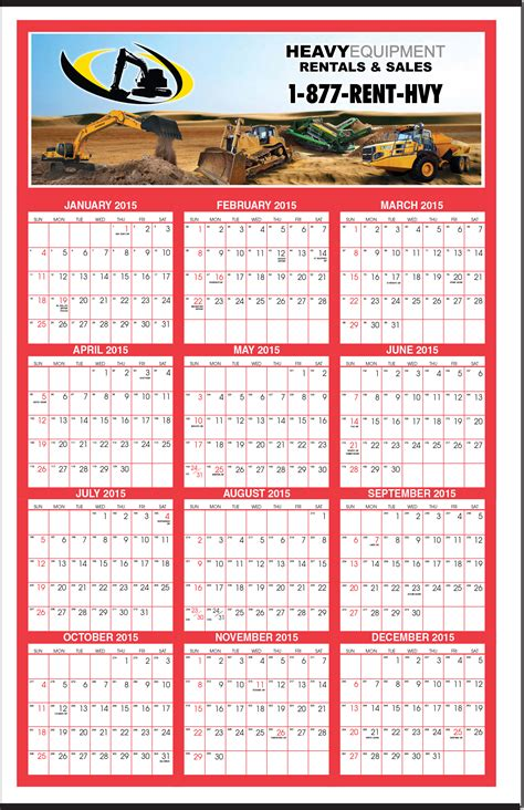 huge full color year   glance calendar  canadian holidays calendar company