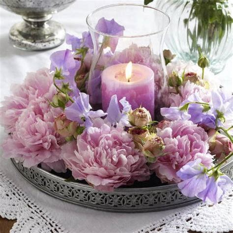 15 Floral Candles Centerpieces With Peony Flowers Candle And Flower Centerpieces