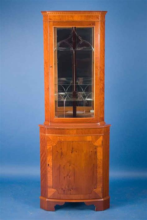 etched glass yew wood corner cabinet for sale antiques