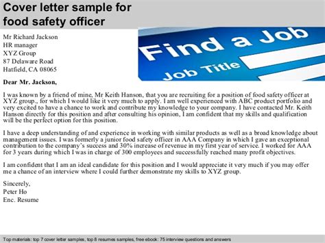 cover letter for safety officer food safety officer cover letter