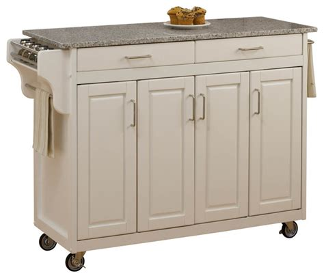 Kitchen Island Cart With Granite Top Create A Cart White Finish Sp Granite Top Transitional