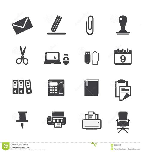 Inverter Chair Office Supplies Icons Set Stock Vector Illustration Of