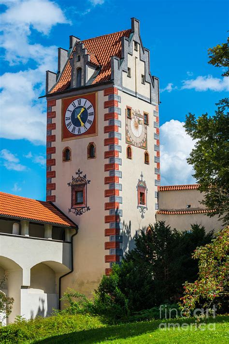 Castle Towers Gift Card - fussen high castle tower germany photograph by gary whitton
