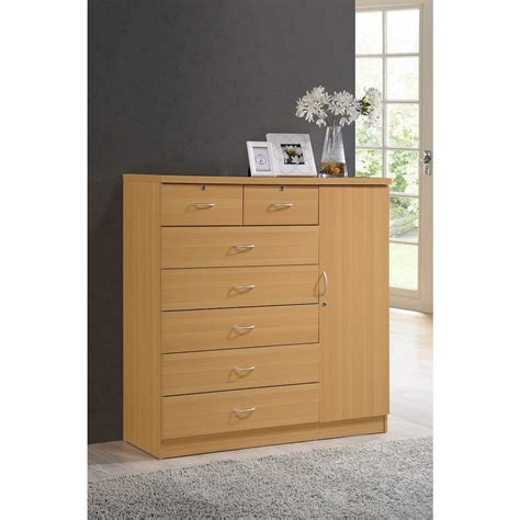 Beech Chest Drawers by Hodedah 7 Drawer Beech Chest With Door Hi71dr Beech The Home Depot