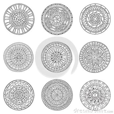 doodle style logo set of circles logo design doodle elements stock vector