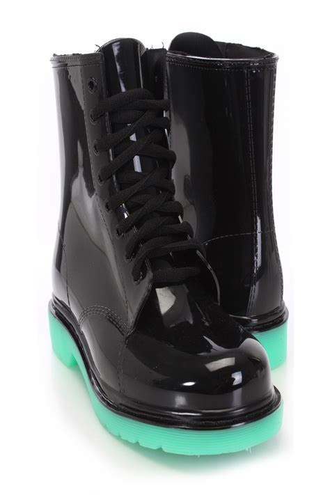 black lace up rubber jelly boots boots catalog s