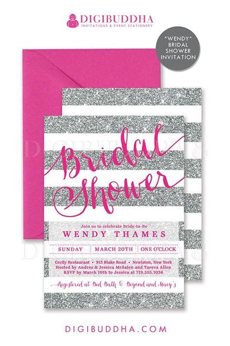 silver glitter bridal shower invitations silver glitter stripes bridal shower invitation with pink fuchsia details choose from ready