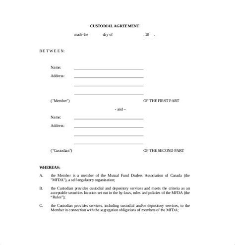 child custody agreement template template design