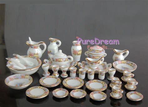 Teaset Orchid 1 12 dollhouse miniature dining ware porcelain tea set