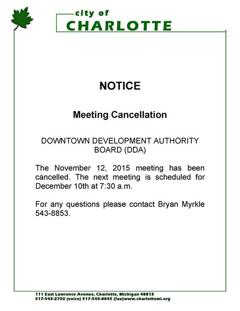 cancellation letter due to weather notice of meeting cancellation for the downtown