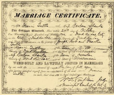 Wisconsin Records Marriage Tuttle Francis M History 1892