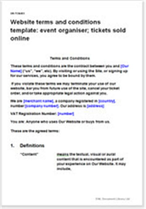 Event Terms And Conditions Template website t c template event organiser with tickets sold