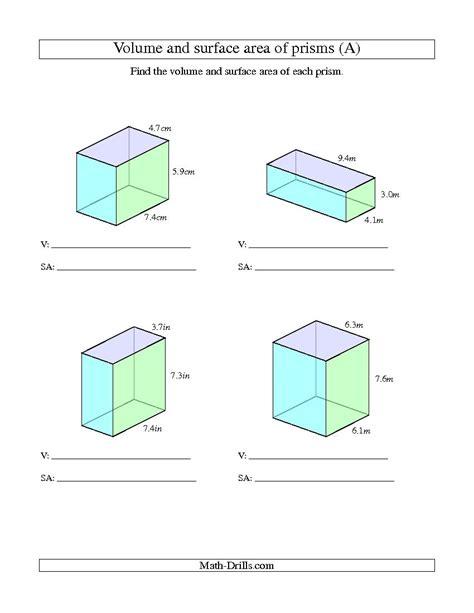 printable math worksheets surface area mixed shapes surface area rectangular prism worksheet worksheets