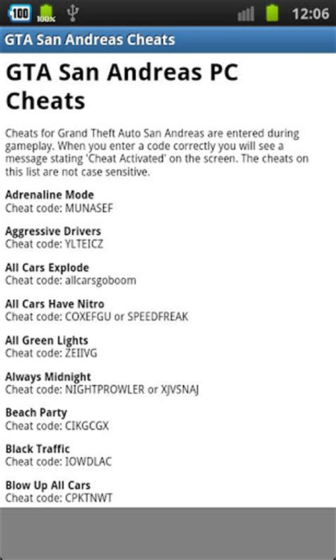 gta san andreas cheats for android gta san andreas cheats free android apps on brothersoft