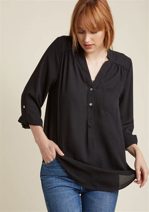 Febrita 2 Blouse By Alila Cloth pam ly sleeve tunic in black modcloth