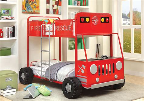 Youth Cool Kids Children Rescuer Red Black Fire Truck Fireman Bunk Bed