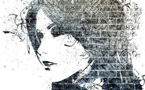 graffiti face monochrome women mosaic paint splatter