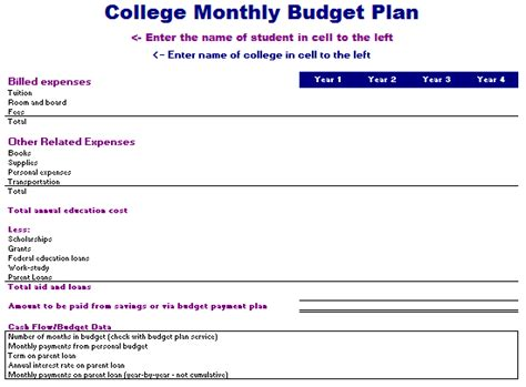 college budget plan template college budget template spreadsheet