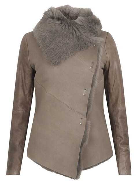 Shearling Jacket heneley shearling jacket in bisque