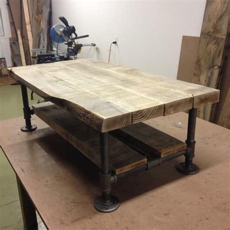 Pipe Coffee Table Reclaimed Wood Pipe Coffee Table With Gray Barn Wood