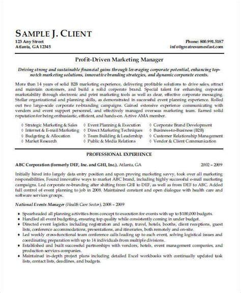 resume sle marketing manager 44 manager resume exle