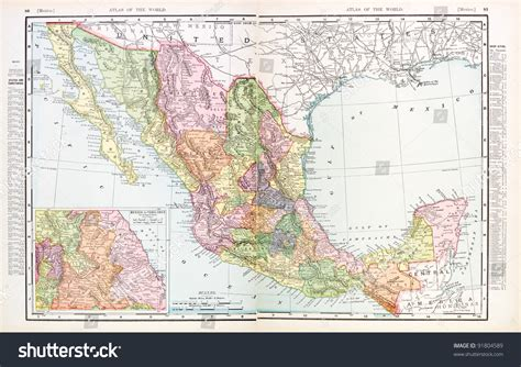 atlas map of mexico a map of mexico from spofford s atlas of the world