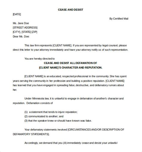 free sle cease and desist letter defamation docoments