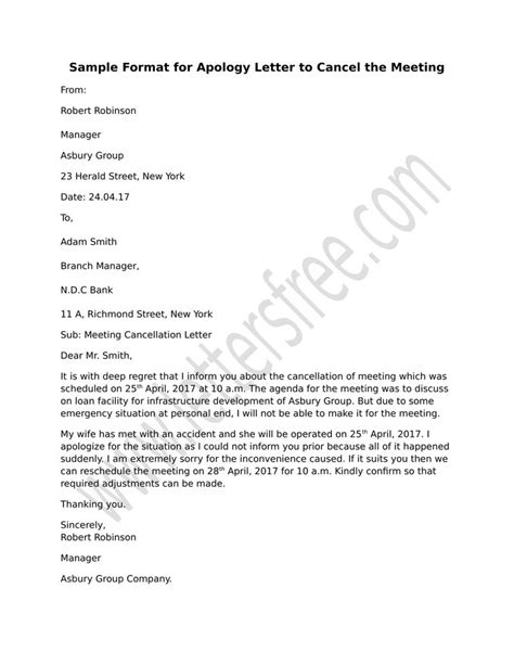 business meeting cancellation letter sle cancellation meeting letter exle 28 images 8 best