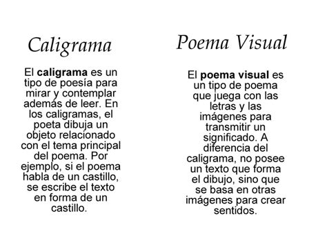 imagenes visuales en un poema caligrama