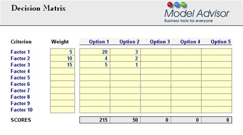 decision matrix financial calculator for excel financial