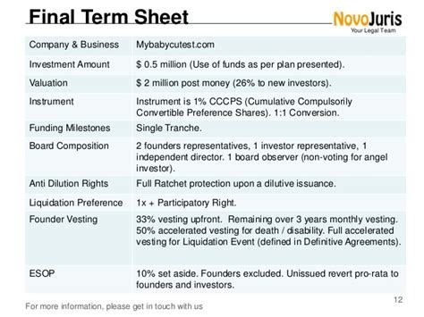 Term Sheet Template Startup by Demystifying Termsheets For Startups