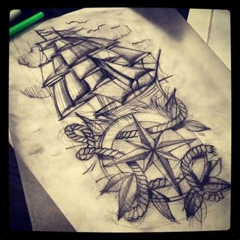 compass tattoo sketch ship nautical compass and rope tattoo drawing tattoes