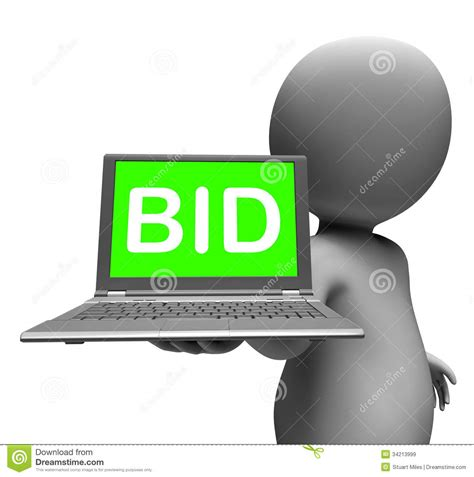 bid stock bid laptop character shows bids bidding or auction