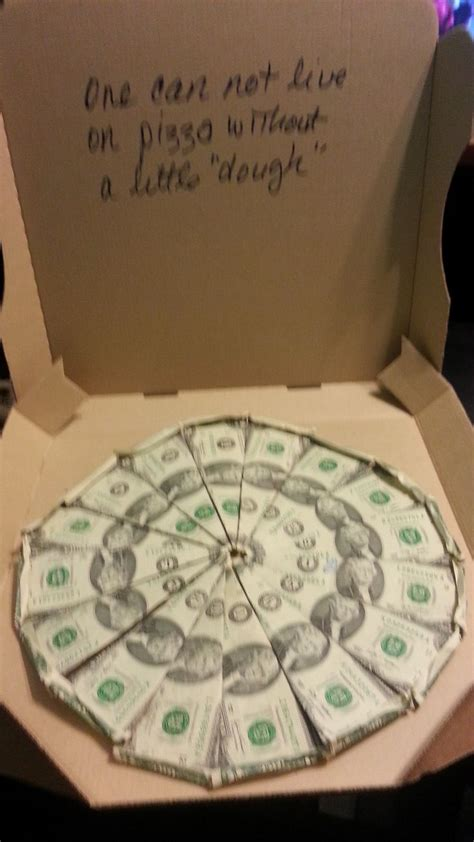 Origami Pizza Box - made with 2 dollar bills and an empty pizza box 16