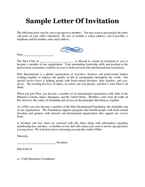 Invitation Letter To Form An Association Formal Meeting Invitation