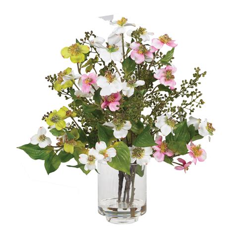 Flower Arrangements In Vase by Dogwood Silk Flower Arrangement W Glass Vase Liquid Illusion