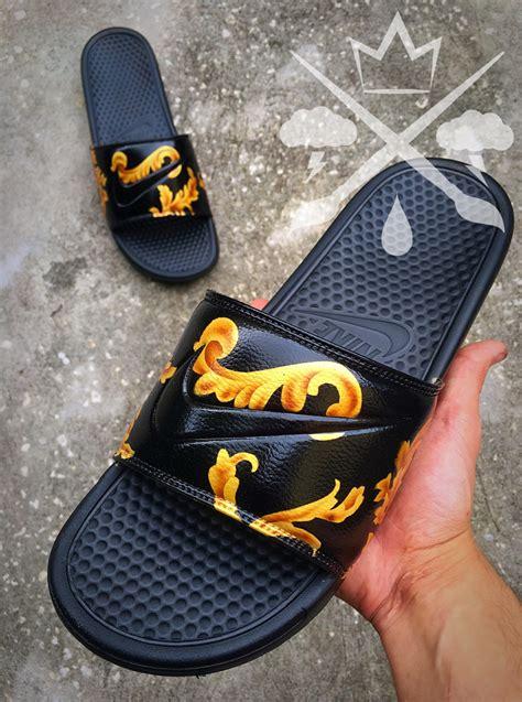 custom slide sandals nike custom black supreme benassi swoosh slide sandals flip